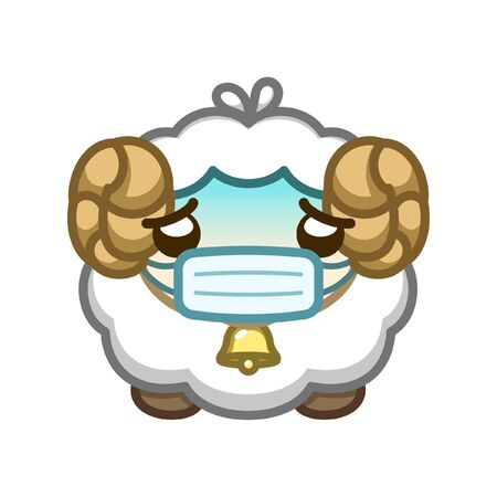 Sick sheep with cough, cold, fever wearing a face mask cute cartoon vector illustration. Character design of an animal for kids promoting awareness for health care and safety.