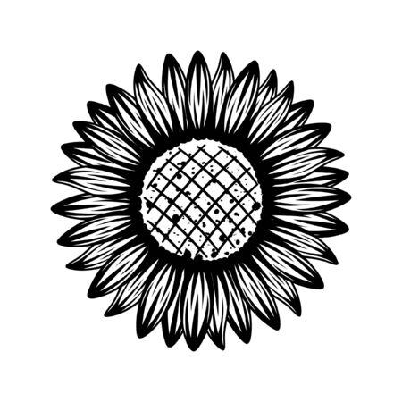 Detailed sunflower vector outline black and white illustration. Tribal Gothic tattoo floral design mandala ethnic print. Иллюстрация