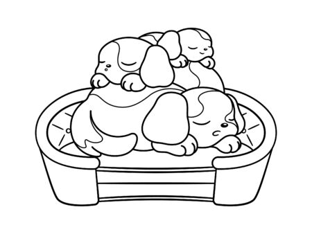 Cute puppies sleeping on top of each other on a dog bed cartoon. Vector illustration coloring book page for kids children and adult.