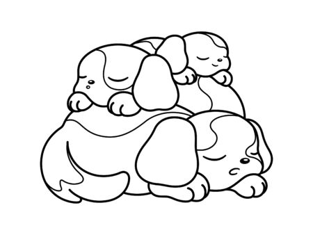 Cute puppies peaceful sleeping on top of each other vector cartoon black and white illustration outline. Coloring book page for kids children adults. Иллюстрация