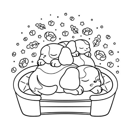Sleeping puppies peaceful cartoon adult and children's coloring book page illustration. Cute dogs asleep on top of each other animal theme art print design. Calm flora and fauna outline.