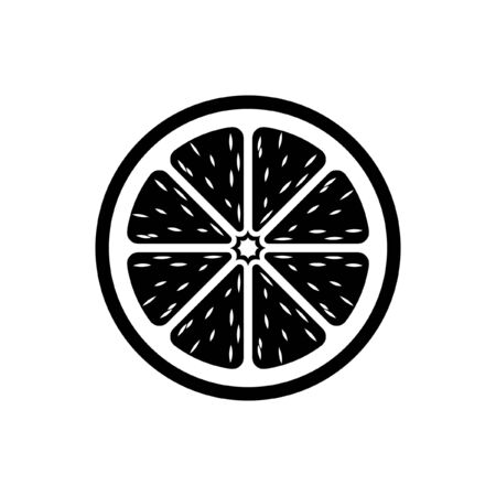 Citrus fruit half slice vector icon design illustration simple style with pulp. Black and white outline logo symbol for diet, health, nutrition.