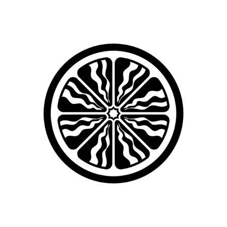 Citrus fruit half slice vector icon design illustration detailed version 3. Black and white outline logo symbol for diet, health, nutrition. Lemon lime orange grapefruit.