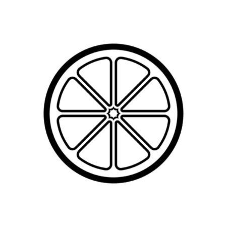 Citrus fruit half slice vector icon design illustration simple style version 2. Black and white outline logo symbol for diet, health, nutrition. Иллюстрация
