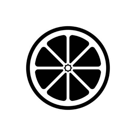 Citrus fruit half slice vector icon design illustration simple style. Black and white outline logo symbol for diet, health, nutrition. Иллюстрация