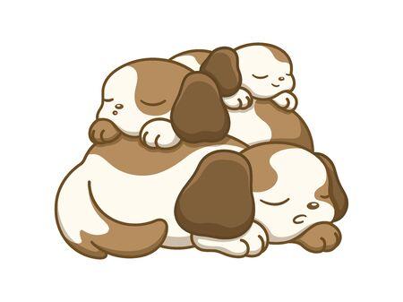 Cute dog puppies sleeping on top of each other vector art flat cartoon illustration. Иллюстрация