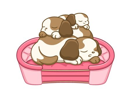 Cute puppies sleeping on top of each other on a dog bed. Flat vector cartoon illustration.