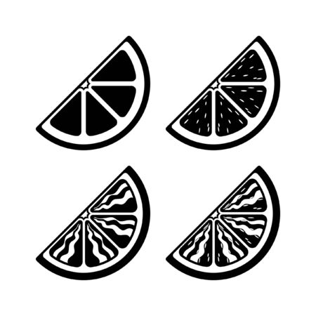 Quarter slice citrus fruit wedge vector icon silhouette set