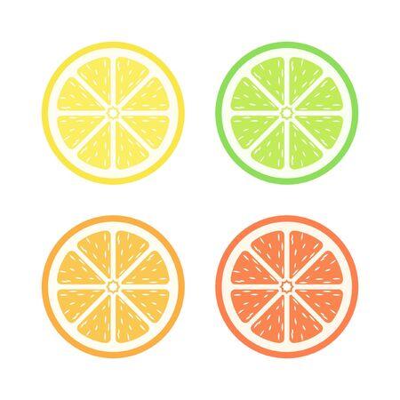 Half slice assorted citrus fruit simple with pulp flat vector icon design set. Sign or symbol of lemon lime orange and grapefruit.