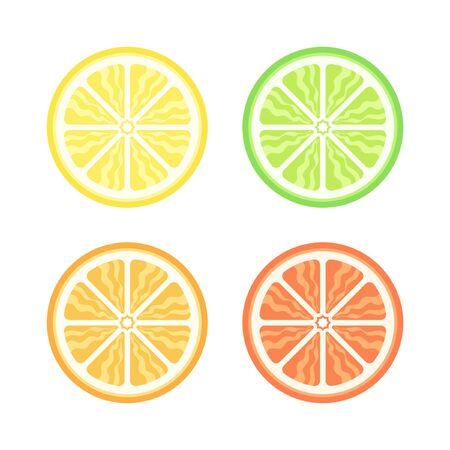 Lemon lime orange grapefruit half slice simple vector icon illustration design set. Иллюстрация