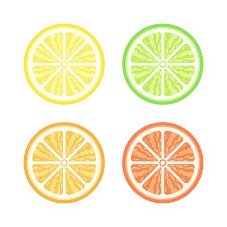 Half slice assorted citrus fruit with pulp detailed flat vector icon design set. Sign or symbol of lemon lime orange and grapefruit. Иллюстрация