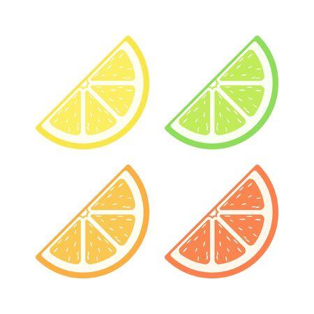 Citrus fruit quarter slice with pulp flat simple vector icon design colored set. Lemon lime orange grapefruit sign symbol illustration.
