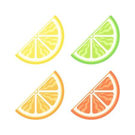 Assorted colored citrus fruit quarter slice vector version 3 icon logo illustration design set.
