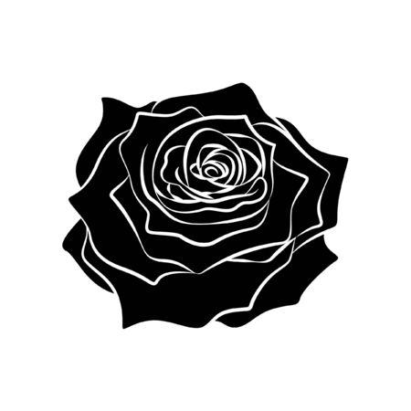 Rose flower tribal ethnic tattoo intricate detailed design vector illustration silhouette. Иллюстрация