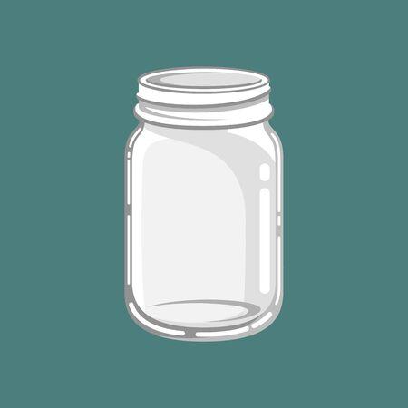 Glass mason jar vector art design illustration