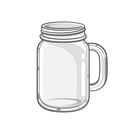 Glass mason jar mug cartoon vector art illustration design