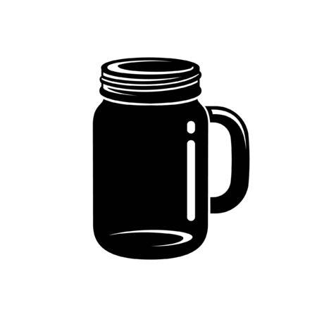 Mason jar mug silhouette vector icon illustration design