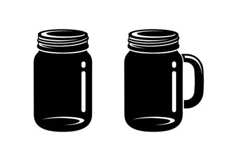 Mason jar and mug silhouette vector icon illustration