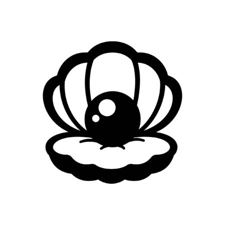 Simple clam with black pearl silhouette vector icon illustration design