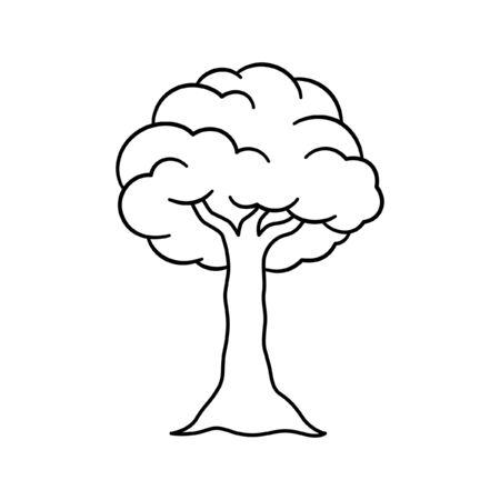 Cartoon tree outline vector art illustration design Иллюстрация