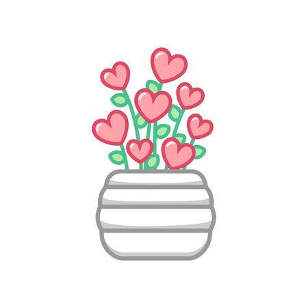 White flower pot vase with heart flowers blooming growing out of it. Vector art concept design illustration.