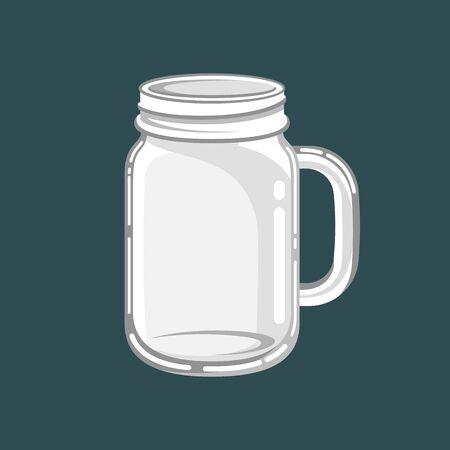 Glass mason jar mug vector illustration