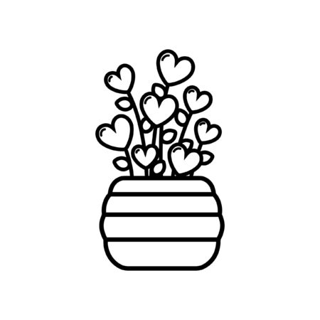 Heart plant outline cartoon concept vector art illustration design