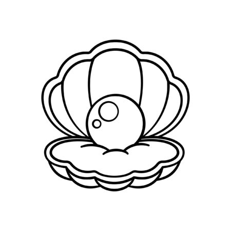 Cartoon clam shell with pearl outline coloring book page element vector illustration art design
