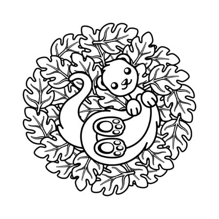 Cute ferret lying on top of leaves coloring book page vector art illustration design