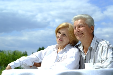 Good Caucasian elderly couple photo