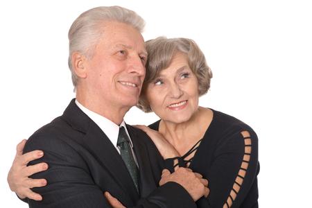glad: Close-up portrait of a glad elder couple on white background