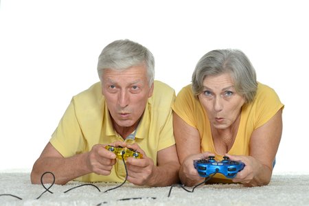 wii: Happy Senior Couple Plays Video Game