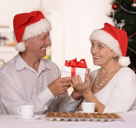 respecting: Happy beautiful elderly couple celebrating new year at home Stock Photo