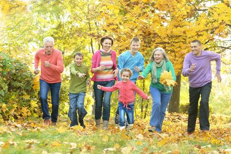 hojas antiguas: Familia sonriente feliz que se relaja en parque del oto�o Foto de archivo