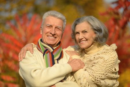 hojas antiguas: Hermosas feliz ancianos en el Parque de otoño
