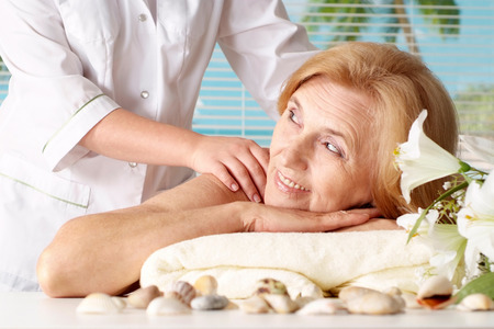 spa and resort: Portrait of an elder woman at the spa