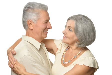 Happy smiling old couple on white background Stock Photo