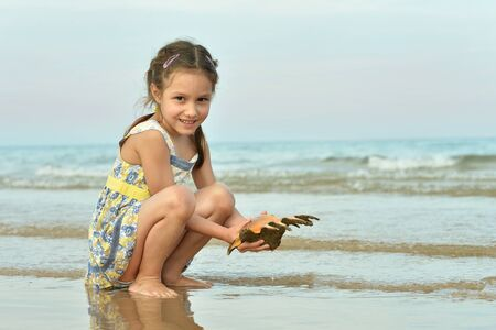 Cute little girl on beach with shell
