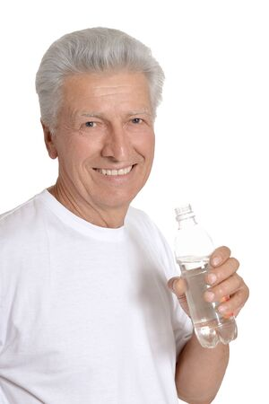 cute guy: Cute old guy with bottle of water