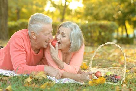 copule: Retrato de una pareja de edad divertida en comida campestre Foto de archivo