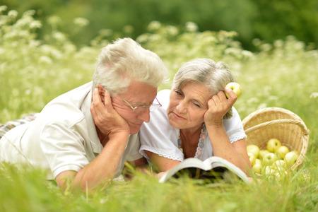 夏のピクニックを持っている高齢者のカップルを愛する