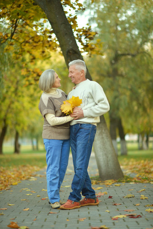 Happy elderly couple walking in autumn park photo
