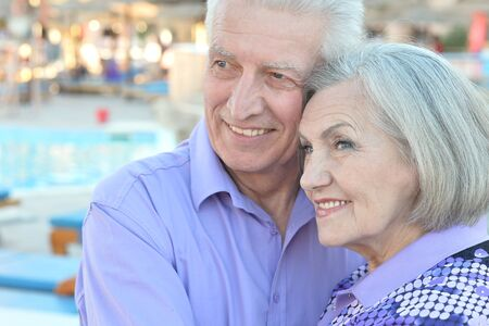 Portrait of an amusing smiling old couple on vacation