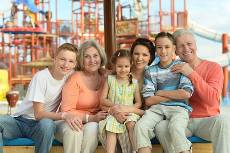 water beautiful: Happy family spending time together in water park
