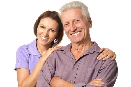 older men: Cute family portrait , adult daughter with senior father Stock Photo