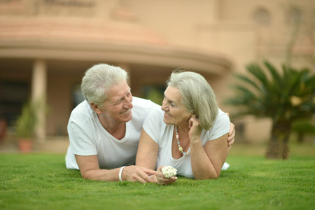 old towns: Portrait of a happy nice mature couple