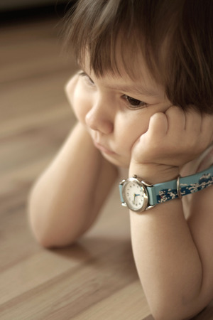 lamentable: Portrait of a offended little boy close-up