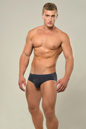 nude male body: Young ,sporty, handsome man with  naked torso Stock Photo