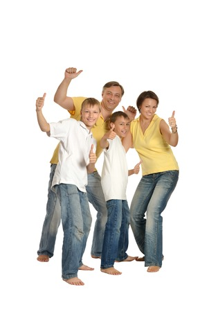 mam: portrait of a cheerful family of four people on white background Stock Photo