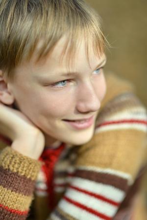 lovable: portrait of a lovable little boy close up Stock Photo